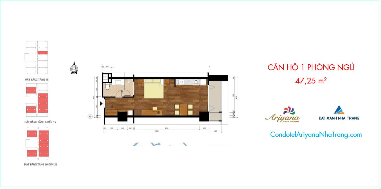 Mặt bằng căn hộ Ariyana Nha Trang